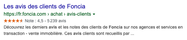 Rich snippets Foncia